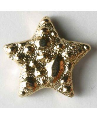Goldener Stern Kunststoffknopf metallisiert - Größe: 14mm - Farbe: gold - Art.Nr. 280539