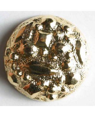Kunststoffknopf metallisiert, abgerundet, mit geometrischen Formen  - Größe: 25mm - Farbe: gold - Art.Nr. 360080