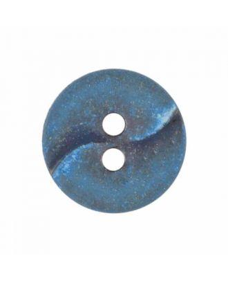 kleiner Polyamidknopf mit einer Welle und zwei Löchern - Größe: 13mm - Farbe: blau - Art.Nr. 225809