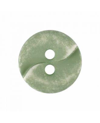 kleiner Polyamidknopf mit einer Welle und zwei Löchern - Größe: 13mm - Farbe: grün - Art.Nr. 225813