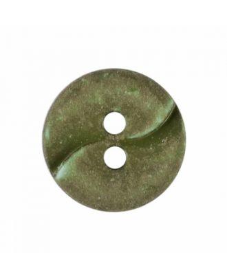 kleiner Polyamidknopf mit einer Welle und zwei Löchern - Größe: 13mm - Farbe: grün - Art.Nr. 225816