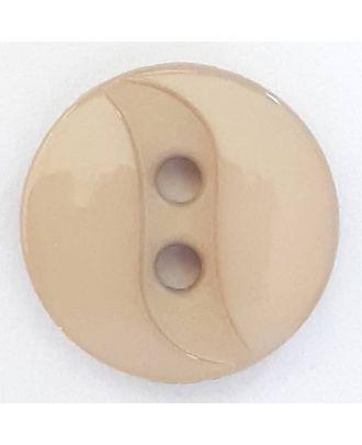 Polyamidknopf mit eingearbeiteter Wellenlinie mit 2 Löchern - Größe: 13mm - Farbe: beige - Art.Nr. 218702