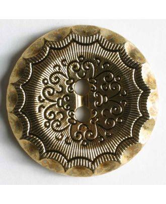Kunststoffknopf metallisiert, mit reich verzierter Oberfläche und 2 Löchern - Größe: 28mm - Farbe: altgold - Art.Nr. 340253