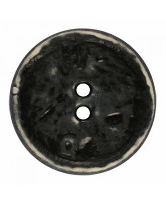 Polyamidknopf rund im Vintage Look und 2 Löchern - Größe: 23mm - Farbe: schwarz - Art.-Nr.: 341378