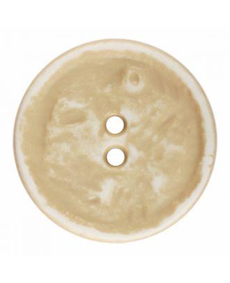 Polyamidknopf rund im Vintage Look und 2 Löchern - Größe: 28mm - Farbe: beige - Art.-Nr.: 376800