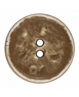 Polyamidknopf rund im Vintage Look und 2 Löchern - Größe: 28mm - Farbe: beige - Art.-Nr.: 376801