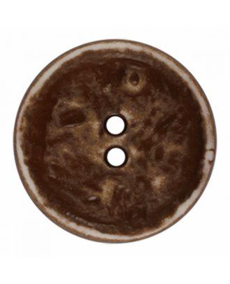 Polyamidknopf rund im Vintage Look und 2 Löchern - Größe: 28mm - Farbe: braun - Art.-Nr.: 376802
