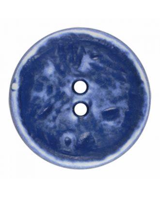 Polyamidknopf rund im Vintage Look und 2 Löchern - Größe: 23mm - Farbe: royal blau - Art.-Nr.: 346828