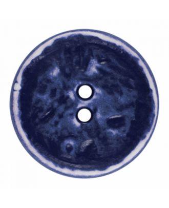 Polyamidknopf rund im Vintage Look und 2 Löchern - Größe: 28mm - Farbe: marine blau - Art.-Nr.: 376805