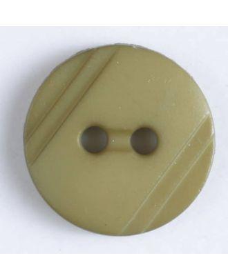 Blusenknopf mit seitlichen Streifen mit 2 Löchern -  Größe: 13mm - Farbe: grün - Art.Nr. 217608