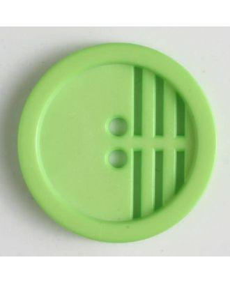 Polyamidknopf umrandet, ein Drittel längs perforiert, 2 Loch - Größe: 15mm - Farbe: grün - Art.Nr. 226603