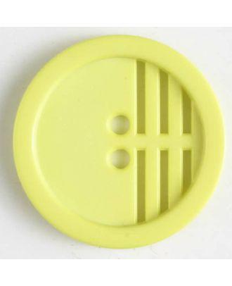 Polyamidknopf umrandet, ein Drittel längs perforiert, 2 Loch - Größe: 15mm - Farbe: gelb - Art.Nr. 226606