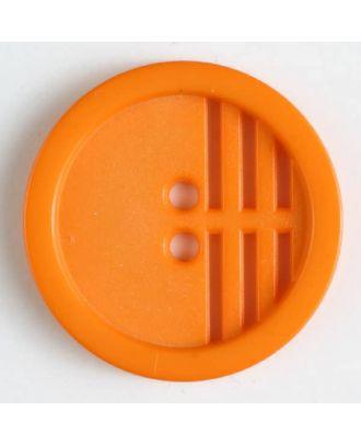Polyamidknopf umrandet, ein Drittel längs perforiert, 2-Loch - Größe: 20mm - Farbe: orange - Art.Nr. 266607