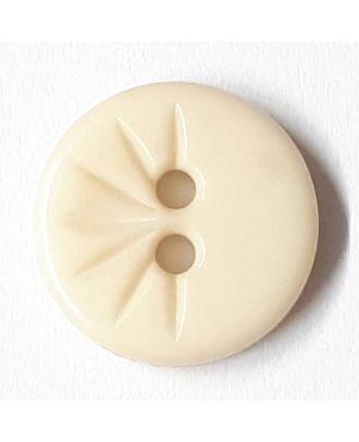 Blusenknopf mit halbseitigem Strahlendesign mit 2 Löchern - Größe: 13mm - Farbe: beige - Art.Nr. 212801