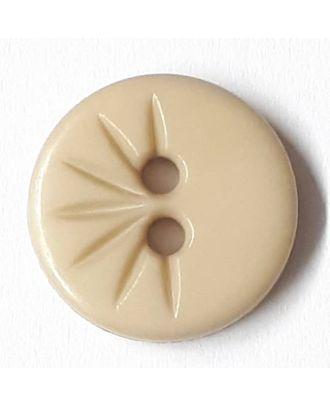 Blusenknopf mit halbseitigem Strahlendesign mit 2 Löchern - Größe: 13mm - Farbe: beige - Art.Nr. 212803