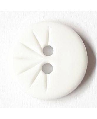 Blusenknopf mit halbseitigem Strahlendesign mit 2 Löchern - Größe: 13mm - Farbe: weiss - Art.Nr. 211440