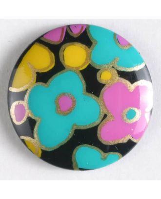 Kunststoffknopf, bedruckt mit romantischem Blumendekor, mit Öse - Größe: 19mm - Farbe: schwarz - Art.Nr. 260814