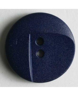 Modeknopf asymmetrisch aussgeschnitten, 2 Loch - Größe: 18mm - Farbe: blau - Art.Nr. 240959