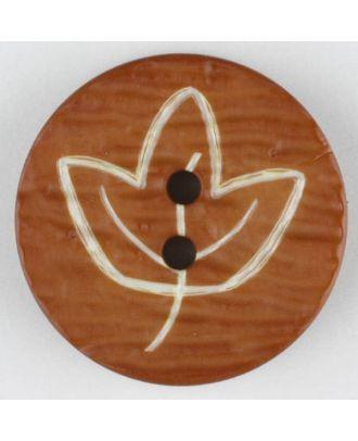 Polyamidknopf mit herbstlichem Laubmotiv, 2 Loch - Größe: 18mm - Farbe: braun - Art.Nr. 251358