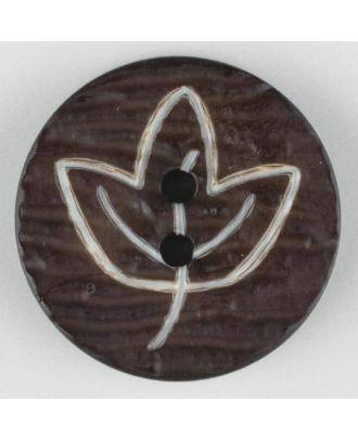 Polyamidknopf mit herbstlichem Laubmotiv, 2 Loch - Größe: 28mm - Farbe: braun - Art.Nr. 340521