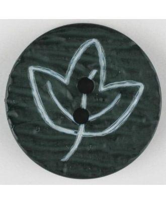 Polyamidknopf mit herbstlichem Laubmotiv, 2 Loch - Größe: 18mm - Farbe: grün - Art.Nr. 251360