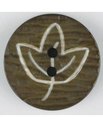 Polyamidknopf mit herbstlichem Laubmotiv, 2 Loch - Größe: 18mm - Farbe: grün - Art.Nr. 251361