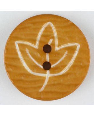 Polyamidknopf mit herbstlichem Laubmotiv, 2 Loch - Größe: 18mm - Farbe: orange - Art.Nr. 251363
