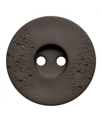 Polyamidknopf rund mit feiner Struktur und 2 Löchern - Größe:  23mm - Farbe: grau - ArtNr.: 338810