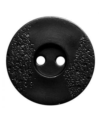 Polyamidknopf rund mit feiner Struktur und 2 Löchern - Größe:  23mm - Farbe: schwarz - ArtNr.: 331243