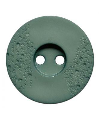 Polyamidknopf rund mit feiner Struktur und 2 Löchern - Größe:  23mm - Farbe: grün - ArtNr.: 338816