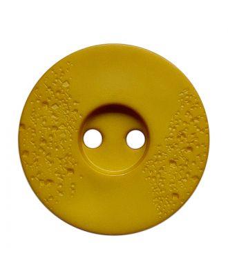 Polyamidknopf rund mit feiner Struktur und 2 Löchern - Größe:  23mm - Farbe: gelb - ArtNr.: 338819