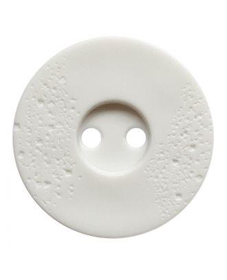 Polyamidknopf rund mit feiner Struktur und 2 Löchern - Größe:  23mm - Farbe: weiß - ArtNr.: 331242