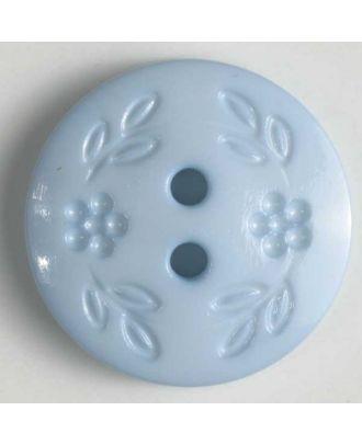 Modeknopf mit dezentem Blumendekor, 2 Loch - Größe: 13mm - Farbe: blau - Art.Nr. 218318