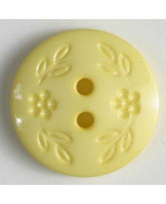 Modeknopf mit dezentem Blumendekor, 2 Loch - Größe: 11mm - Farbe: gelb - Art.Nr. 201366