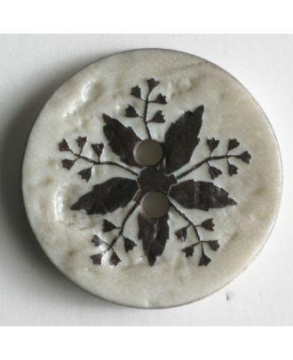 Modeknopf mit aufwändigem Blättermotiv - Größe: 25mm - Farbe: braun - Art.Nr. 320549