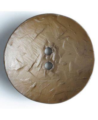 Modeknopf rund, Strukturoberfläche, 2 Loch - Größe: 60mm - Farbe: braun - Art.Nr. 410031