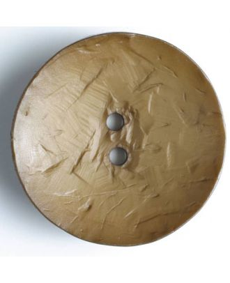 Modeknopf rund, Strukturoberfläche, 2 Loch - Größe: 60mm - Farbe: braun - Art.Nr. 410033