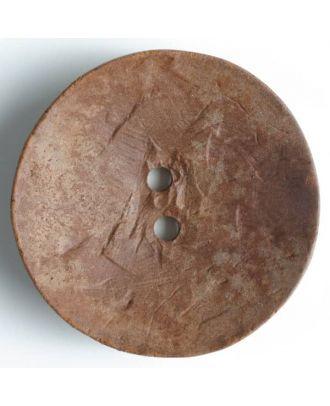 Modeknopf rund, Strukturoberfläche, 2 Loch - Größe: 60mm - Farbe: braun - Art.Nr. 470014