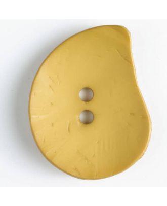 Modeknopf Tropfenform, Strukturoberfläche, 2 Loch -  Größe: 50mm - Farbe: gelb - Art.Nr. 390123