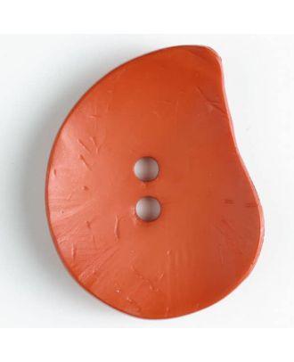 Modeknopf Tropfenform, Strukturoberfläche, 2 Loch - Größe: 50mm - Farbe: orange - Art.Nr. 390124