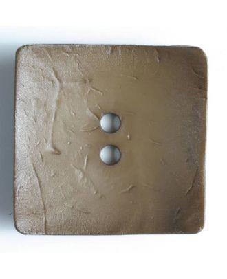 Modeknopf quadratisch, Strukturoberfläche, 2 Loch -  Größe: 60mm - Farbe: braun - Art.Nr. 410046