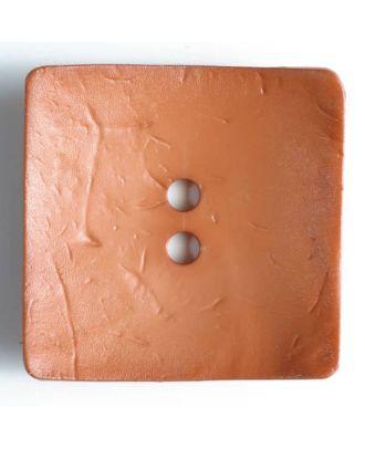 Modeknopf quadratisch, Strukturoberfläche, 2 Loch -  Größe: 60mm - Farbe: braun - Art.Nr. 410047