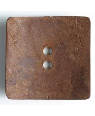 Modeknopf quadratisch, Strukturoberfläche, 2 Loch -  Größe: 60mm - Farbe: braun - Art.Nr. 470015