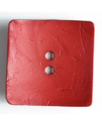 Modeknopf quadratisch, Strukturoberfläche, 2 Loch - Größe: 60mm - Farbe: rot - Art.Nr. 410054
