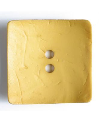 Modeknopf quadratisch, Strukturoberfläche, 2 Loch - Größe: 60mm - Farbe: gelb - Art.Nr. 410056