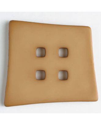 Kunststoffknopf Kopfkissenform mit 4 quadratischen Löchern - Größe: 55mm - Farbe: beige - Art.Nr. 405501