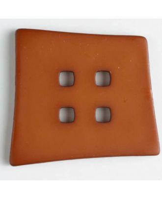 Kunststoffknopf Kopfkissenform mit 4 quadratischen Löchern - Größe: 55mm - Farbe: braun - Art.Nr. 405502