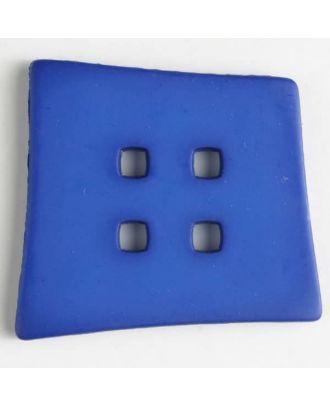 Kunststoffknopf Kopfkissenform mit 4 quadratischen Löchern - Größe: 55mm - Farbe: blau - Art.Nr. 405503