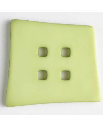 Kunststoffknopf Kopfkissenform mit 4 quadratischen Löchern -  Größe: 55mm - Farbe: grün - Art.Nr. 405504