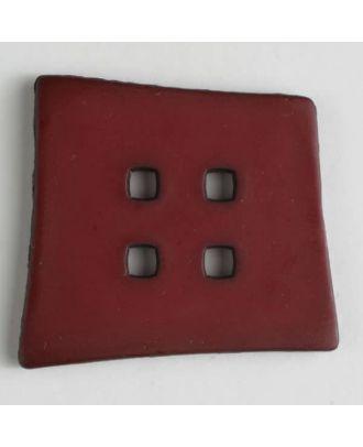 Kunststoffknopf Kopfkissenform mit 4 quadratischen Löchern -  Größe: 55mm - Farbe: rot - Art.Nr. 405506